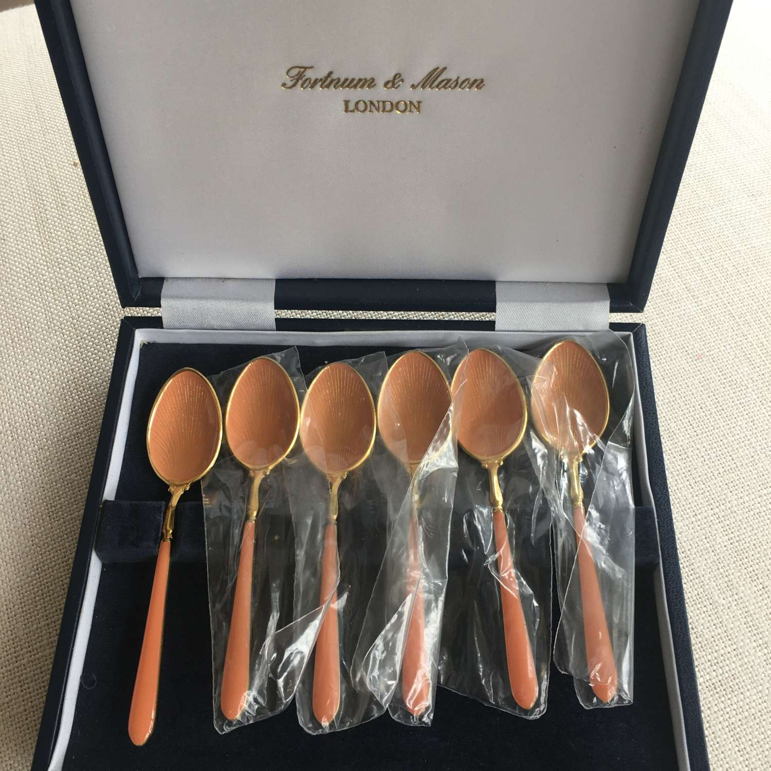 1970s Fortnum and Mason gold plated enamel coffee spoons - new unused