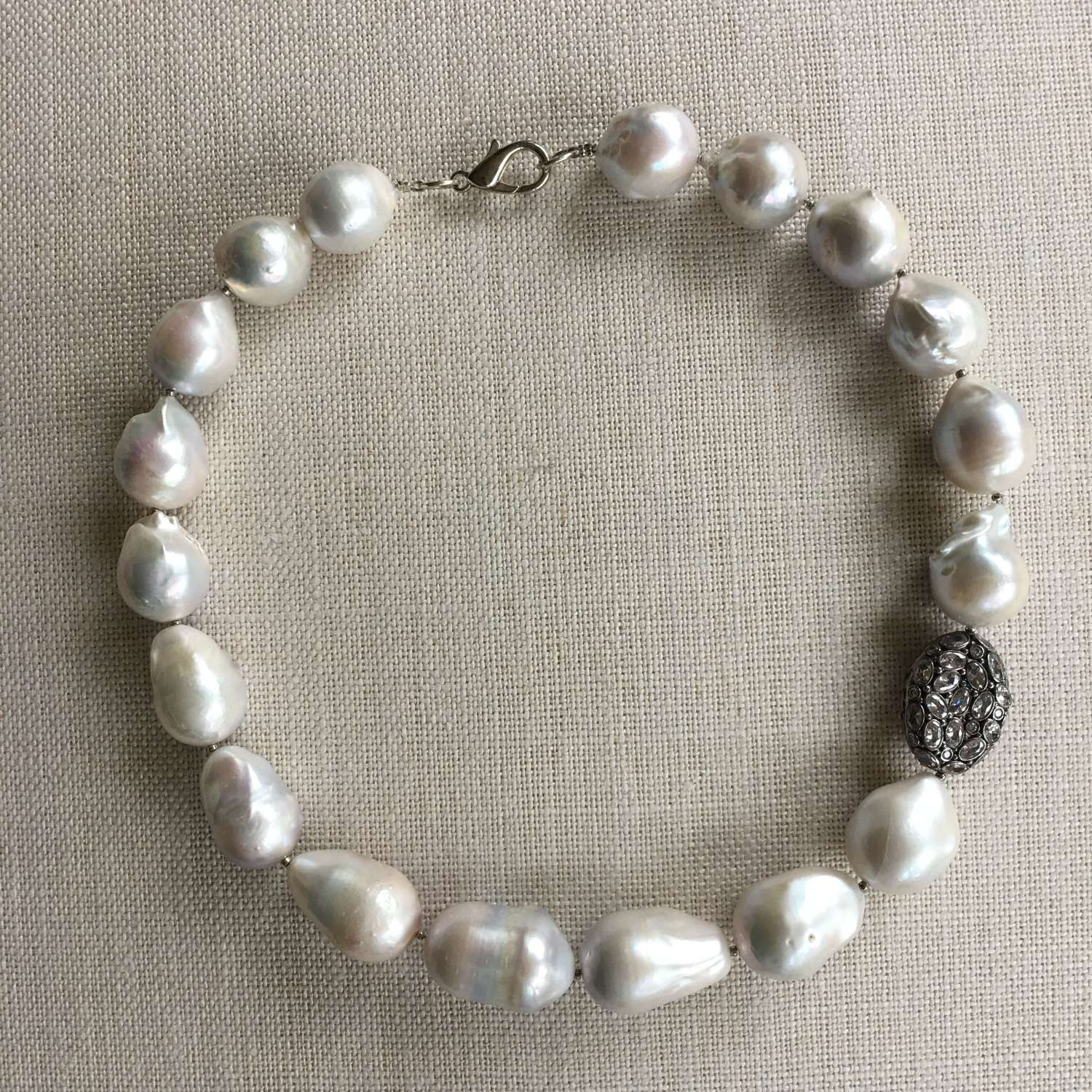 Very large baroque grey/white pearl and silver necklace