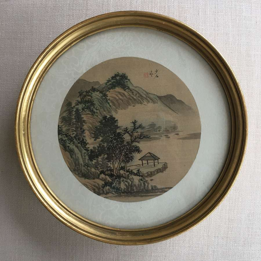 A pair of 19th century paintings on silk in gilt wood frames