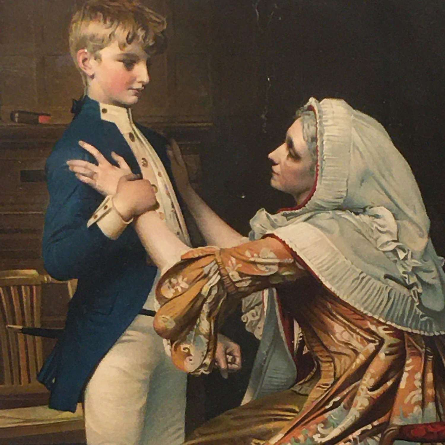 Antique 1800s framed print of Nelson with his mother