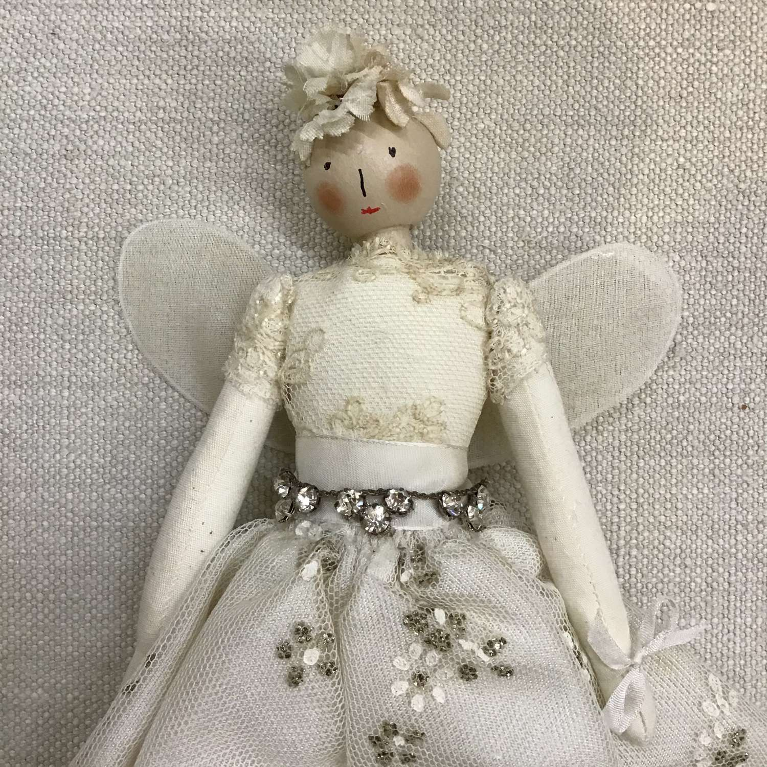 Handcrafted cloth fairy doll using vintage fabrics and trims