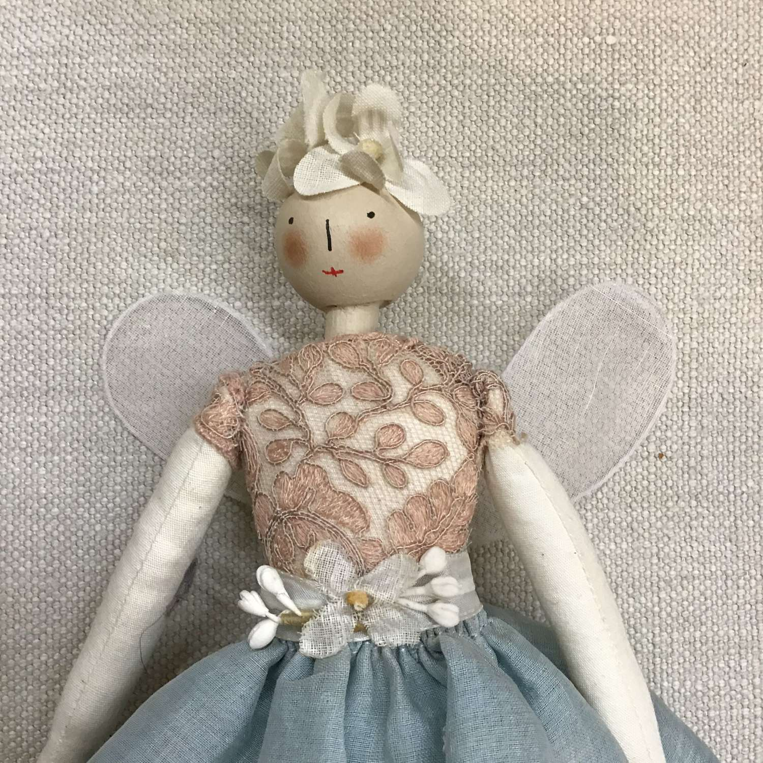Handcrafted cloth fairy doll made with vintage fabric and trims