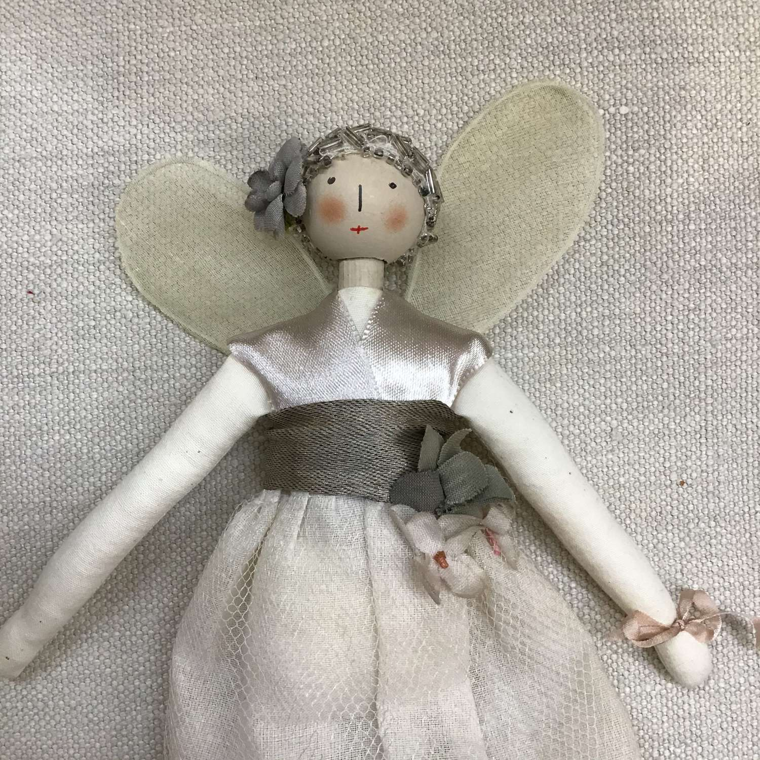 Hand crafted cloth fairy doll with vintage fabrics and trims