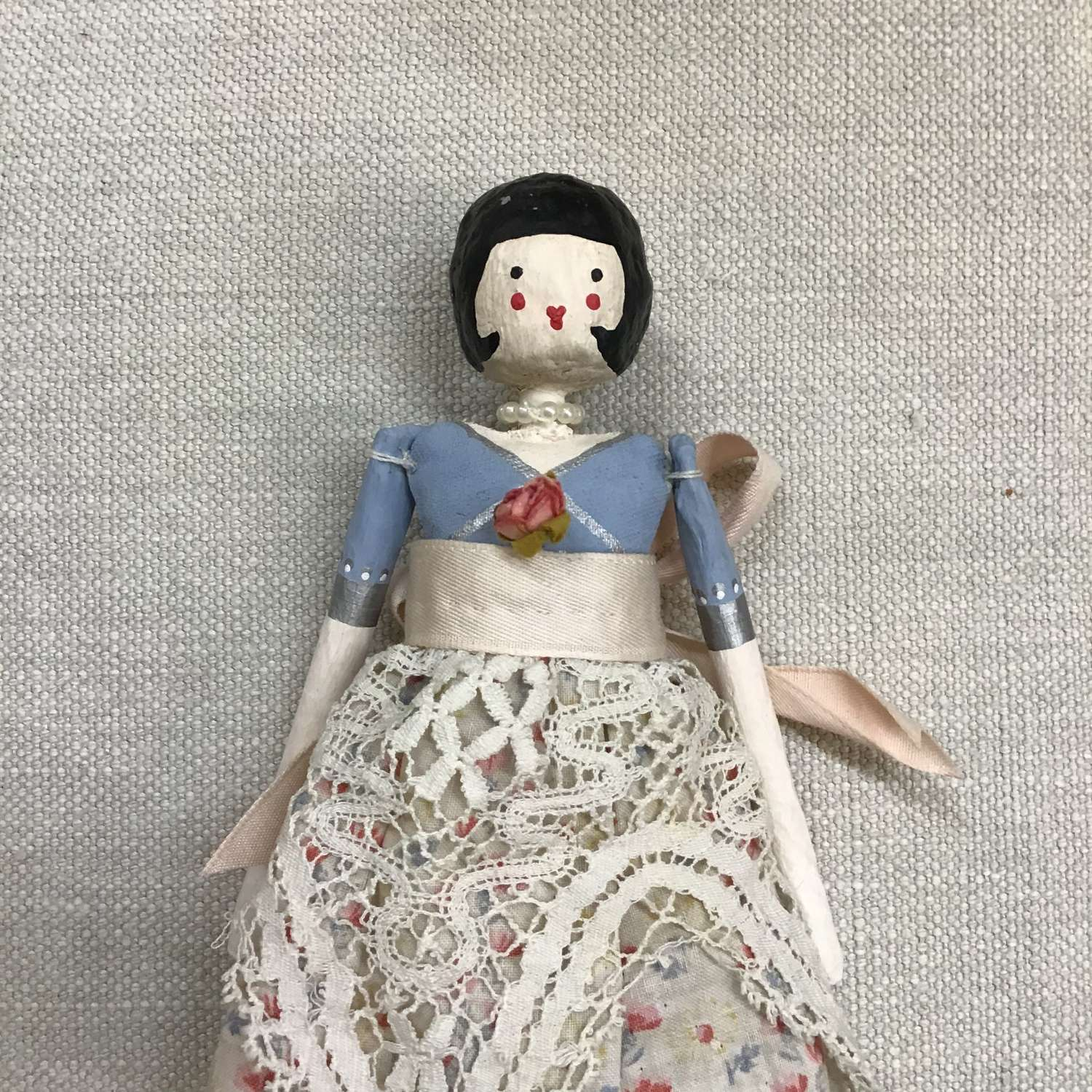 Hand crafted paper clay doll made with vintage fabric and trims