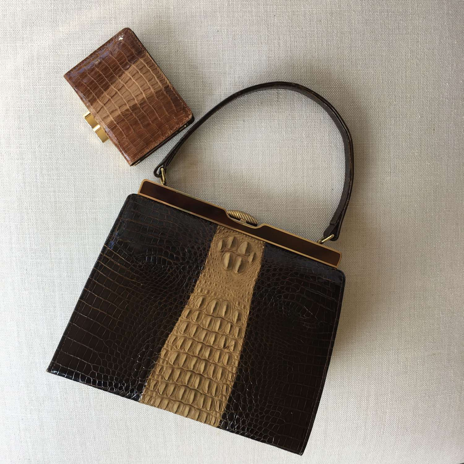 1950s leather Kelly bag with matching purse