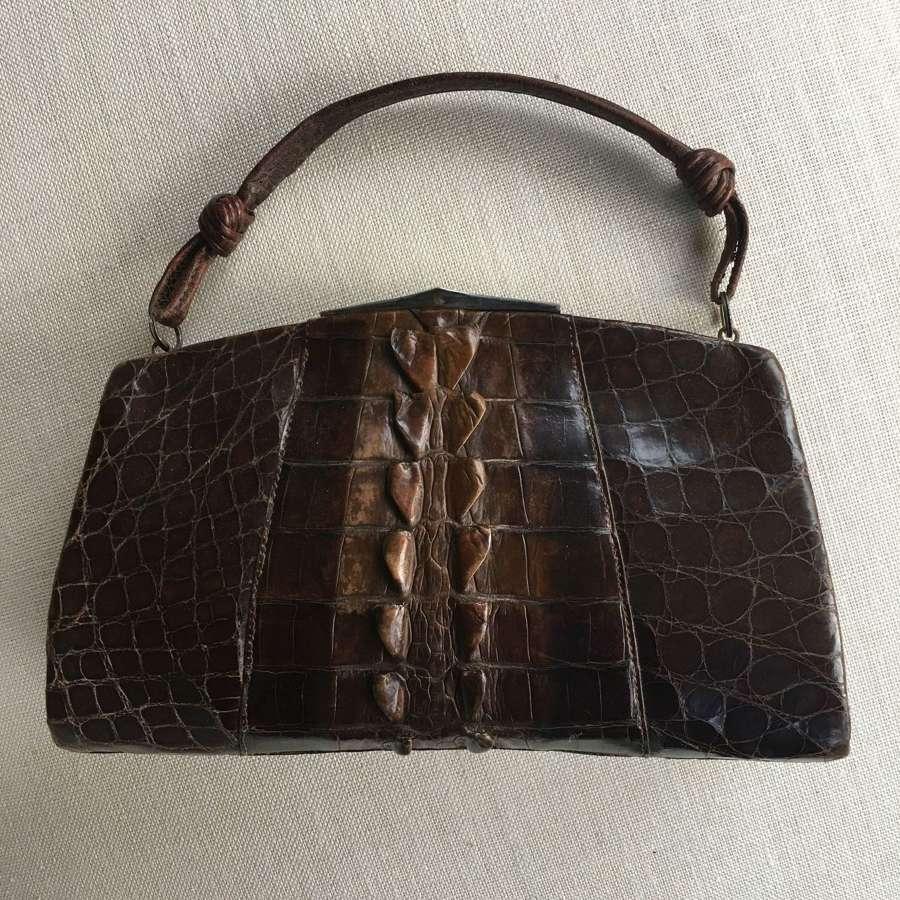 1920-30 vintage crocodile handbag
