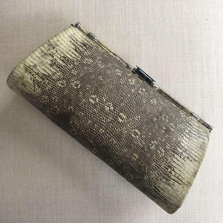 Vintage 1930s monitor lizard skin clutch bag