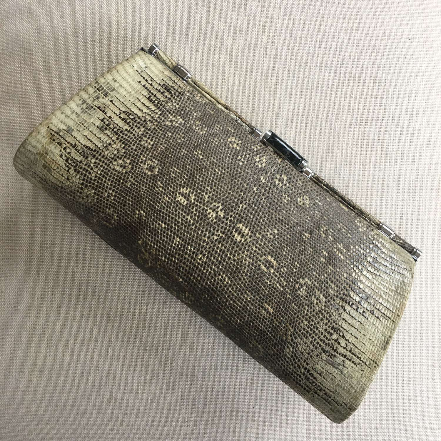 Vintage 1930s monitor lizard skin clutch bag