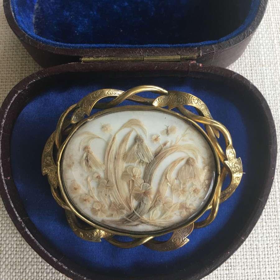 Victorian pinchbeck hair locket brooch