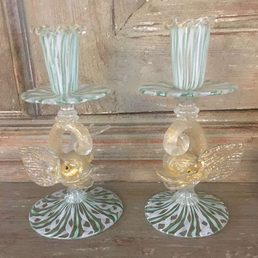 A pair of Venetian Murano glass stylised dolphin candlesticks 1930/50s
