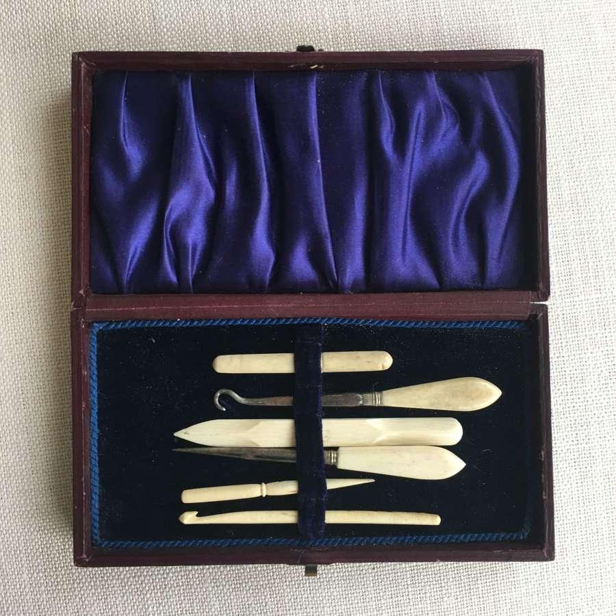 Antique ivory sewing tools etc in original box
