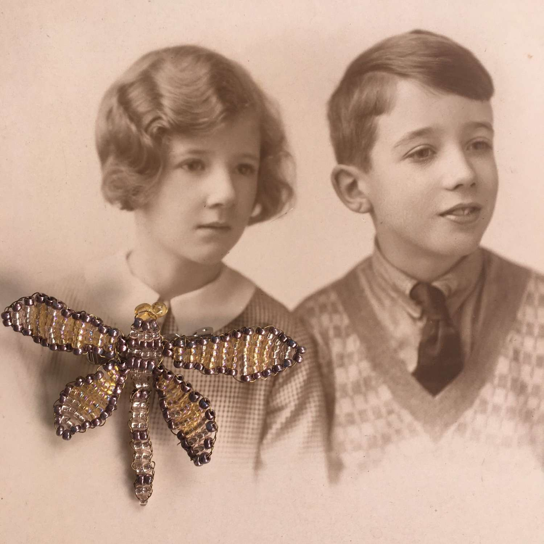 Vintage beaded dragonfly brooch