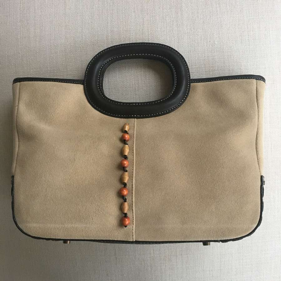 Jane Shilton brown leather and sand coloured suede handbag