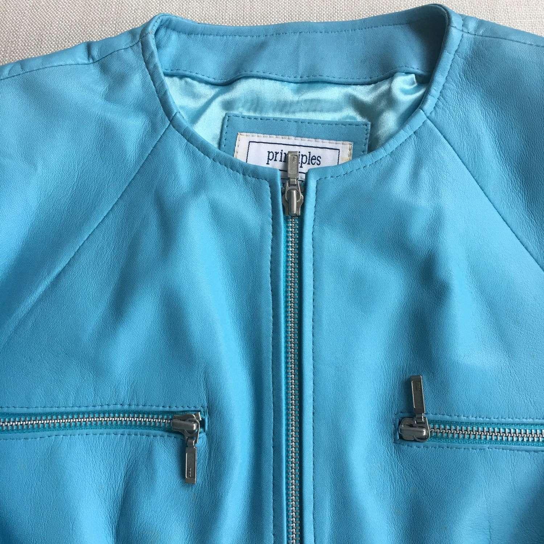 Vintage Principles pale blue leather biker jacket size 14