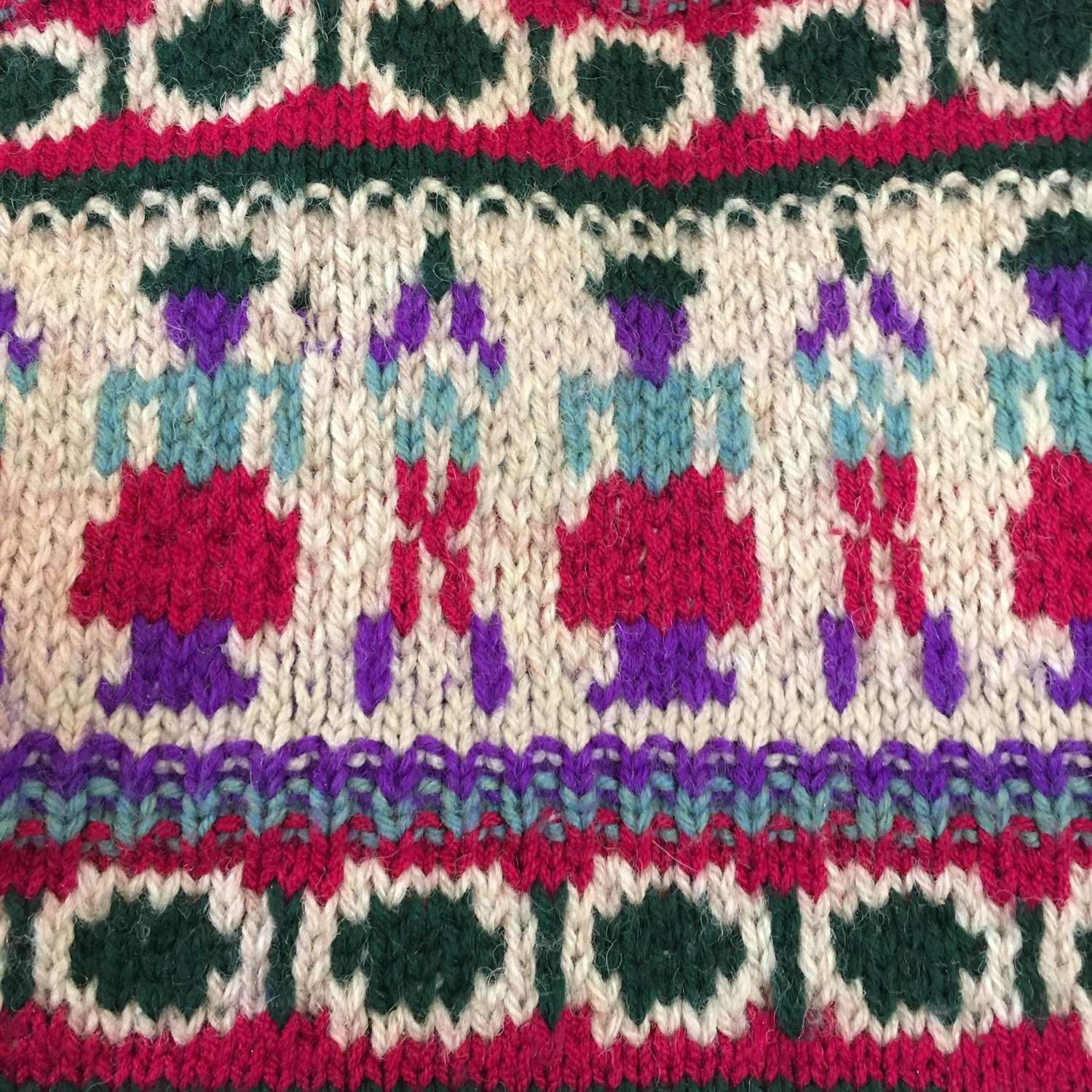 Vintage hand knitted waistcoat in bright colours size 10-12