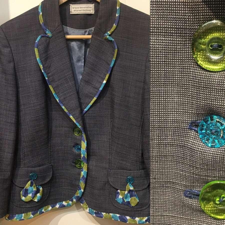 Vintage grey wool jacket UK size 10