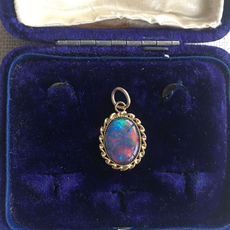 Late 20th century round opal vermeil pendant