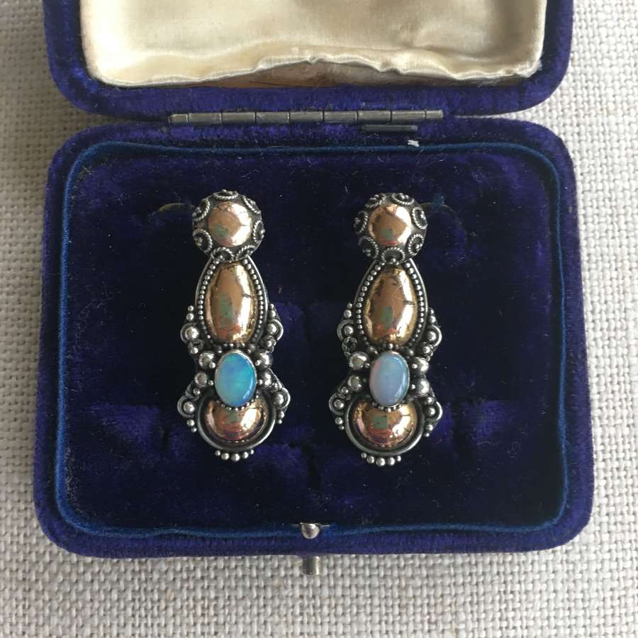 Vintage silver &  22ct rose gold and opal drop earrings