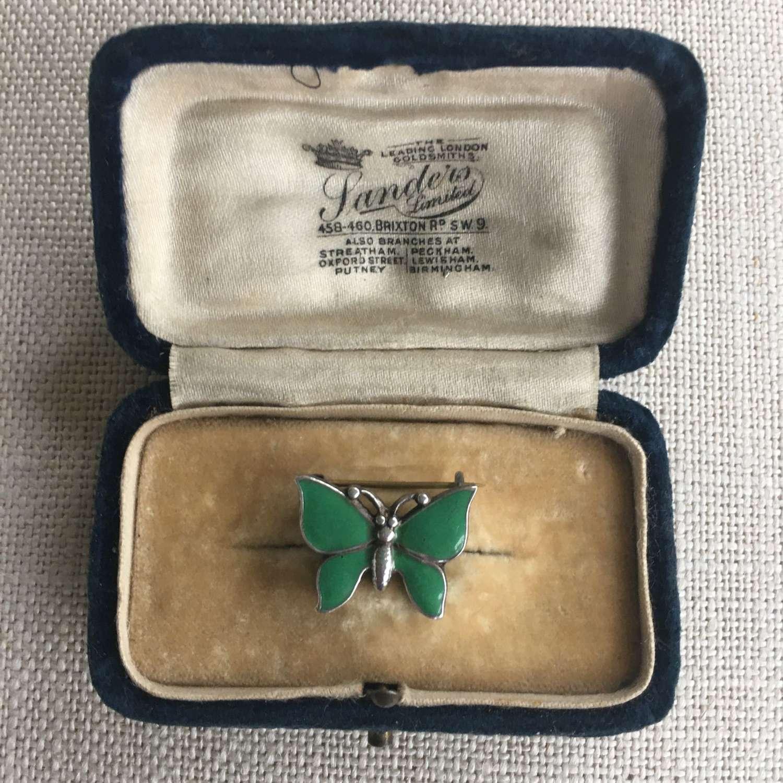 Vintage sterling silver green enamel butterfly brooch