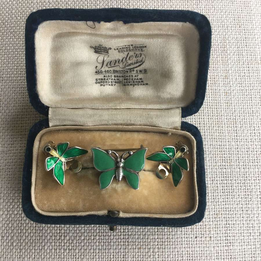 Vintage vermeil green & lemon enamel butterfly clip earrings