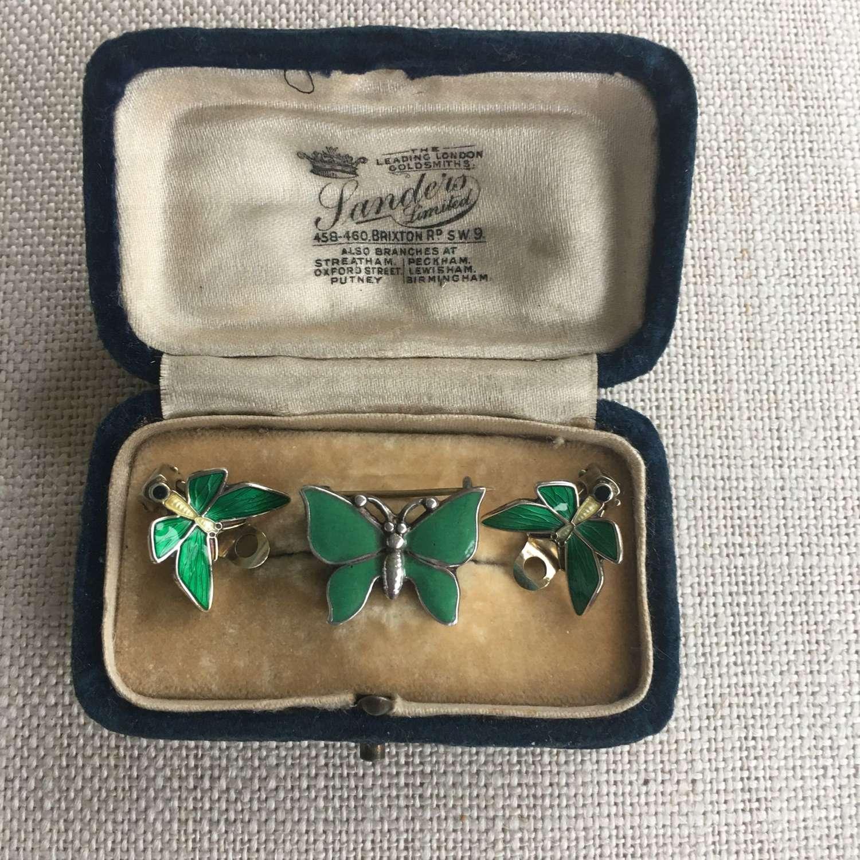 Vintage vermeil green & lemon enamel butterfly clip earrings