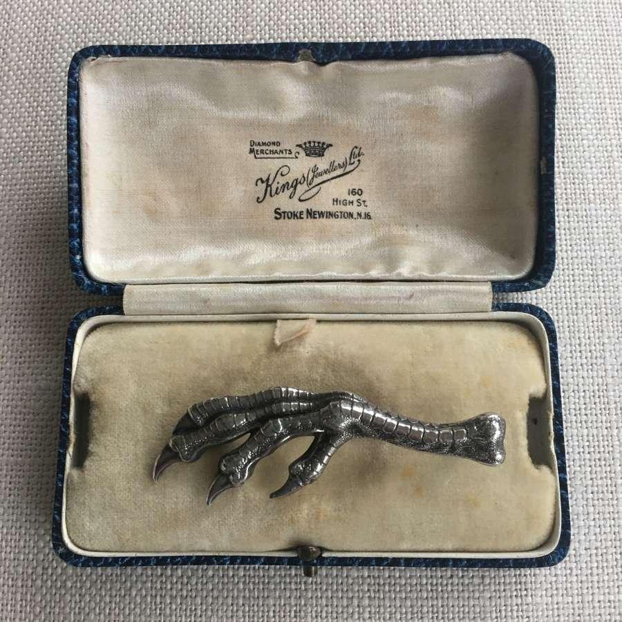 Victorian silver claw brooch h/m 1897