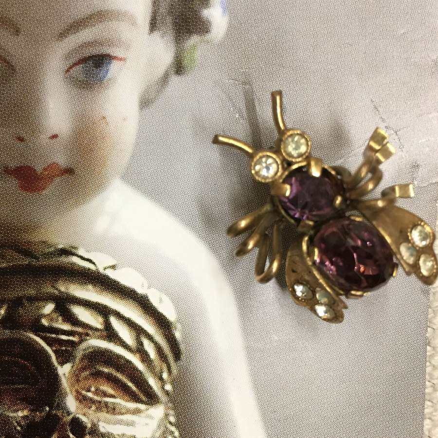 Victorian bug brooch with amethyst paste stones