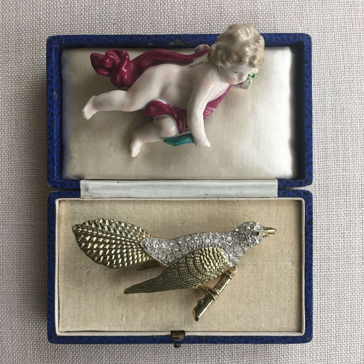 Large paste cuckoo brooch late 20th century