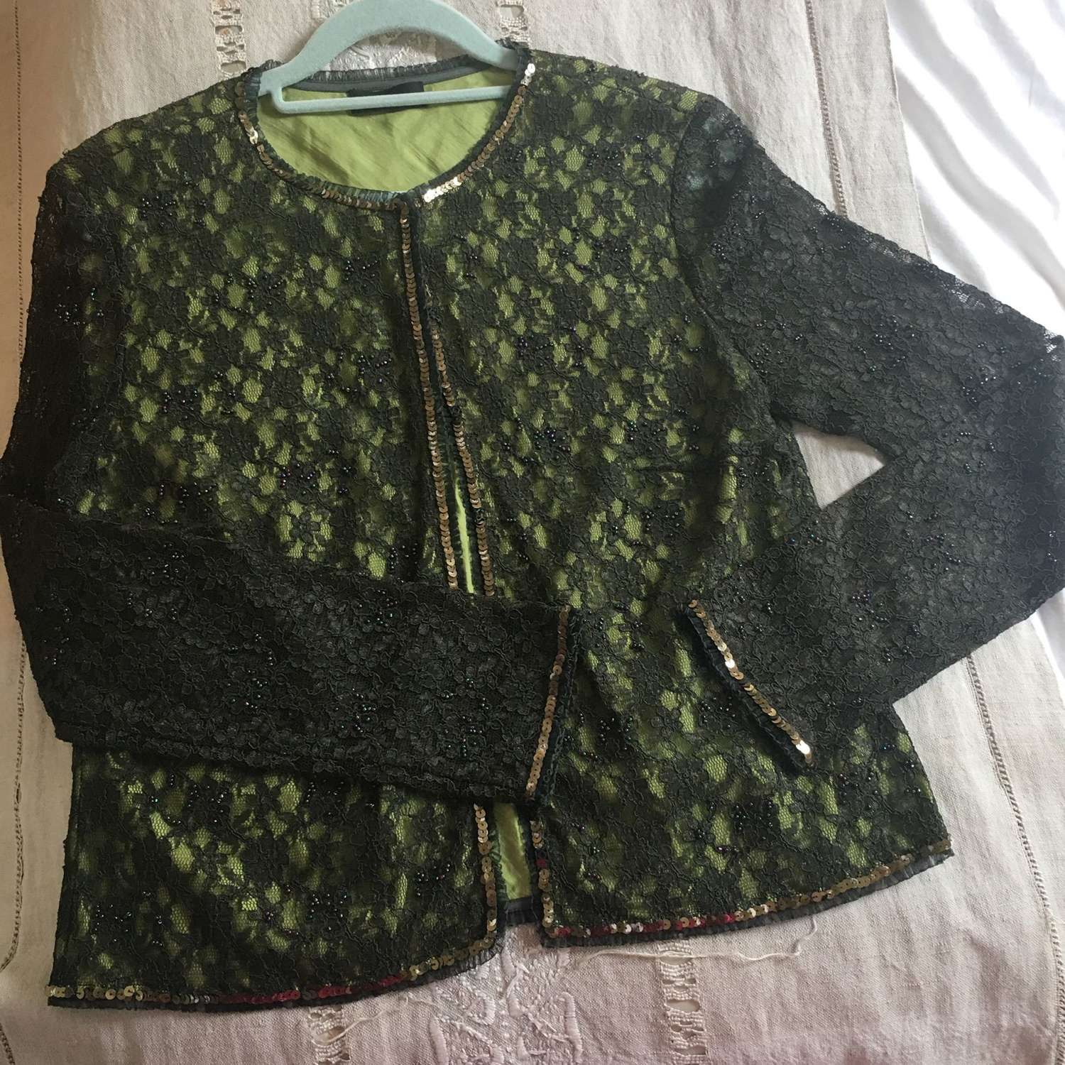 Lace and silk beaded cardigan size 14