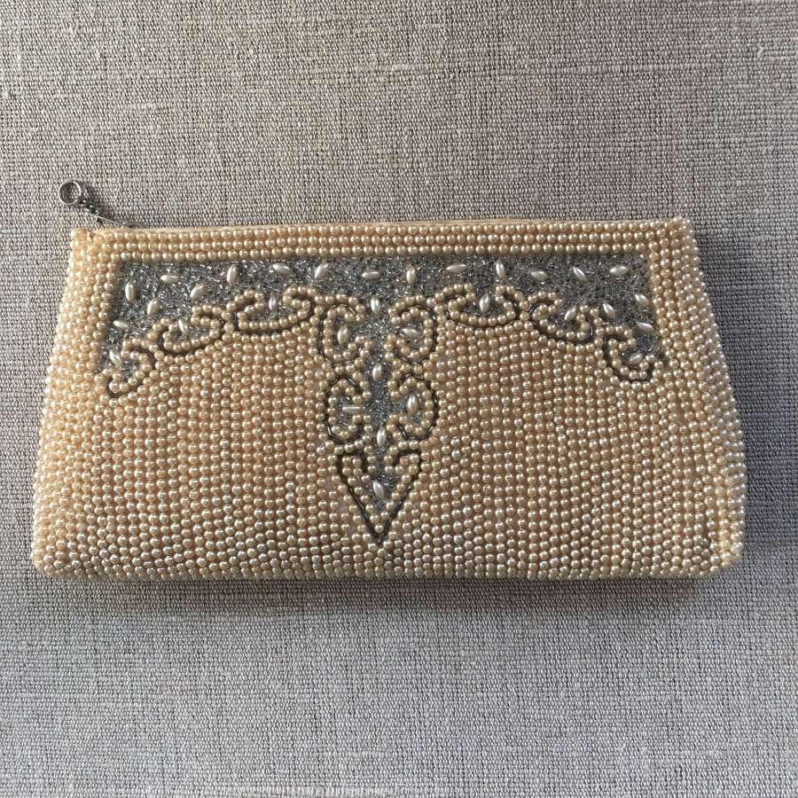 1950s cream pearl and bugle beaded bag