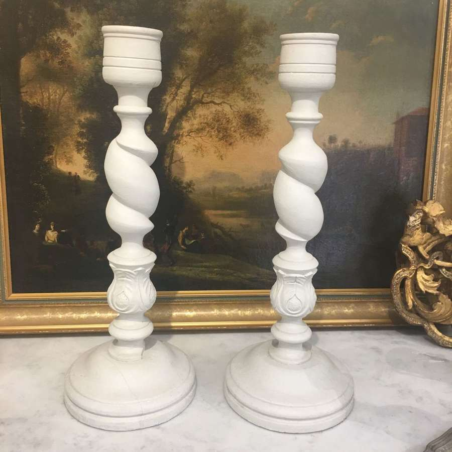Pair of tall Victorian painted wooden candlesticks