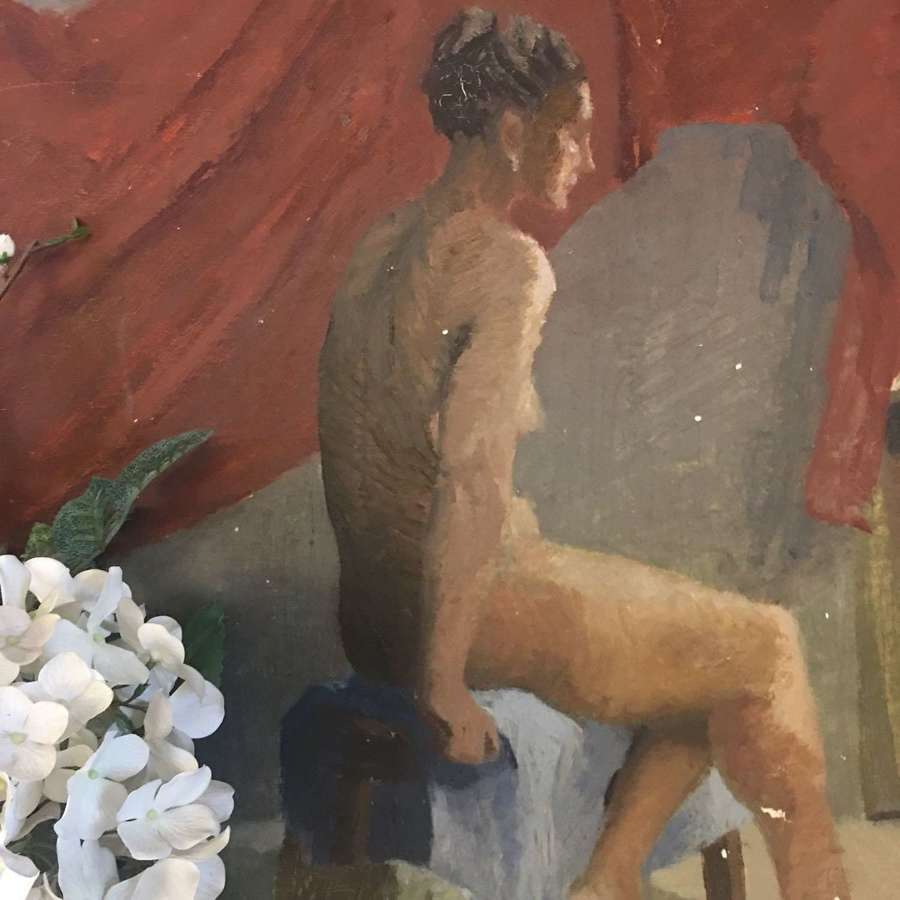 Vintage nude oil on board