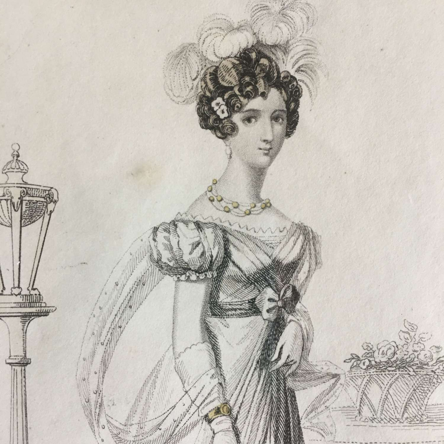 1825 Print of Lady in 'Evening Full Dress'