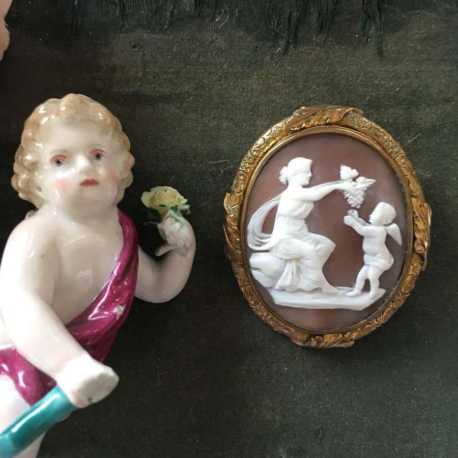 A shell cameo of the young Bacchus and his mother c 1880
