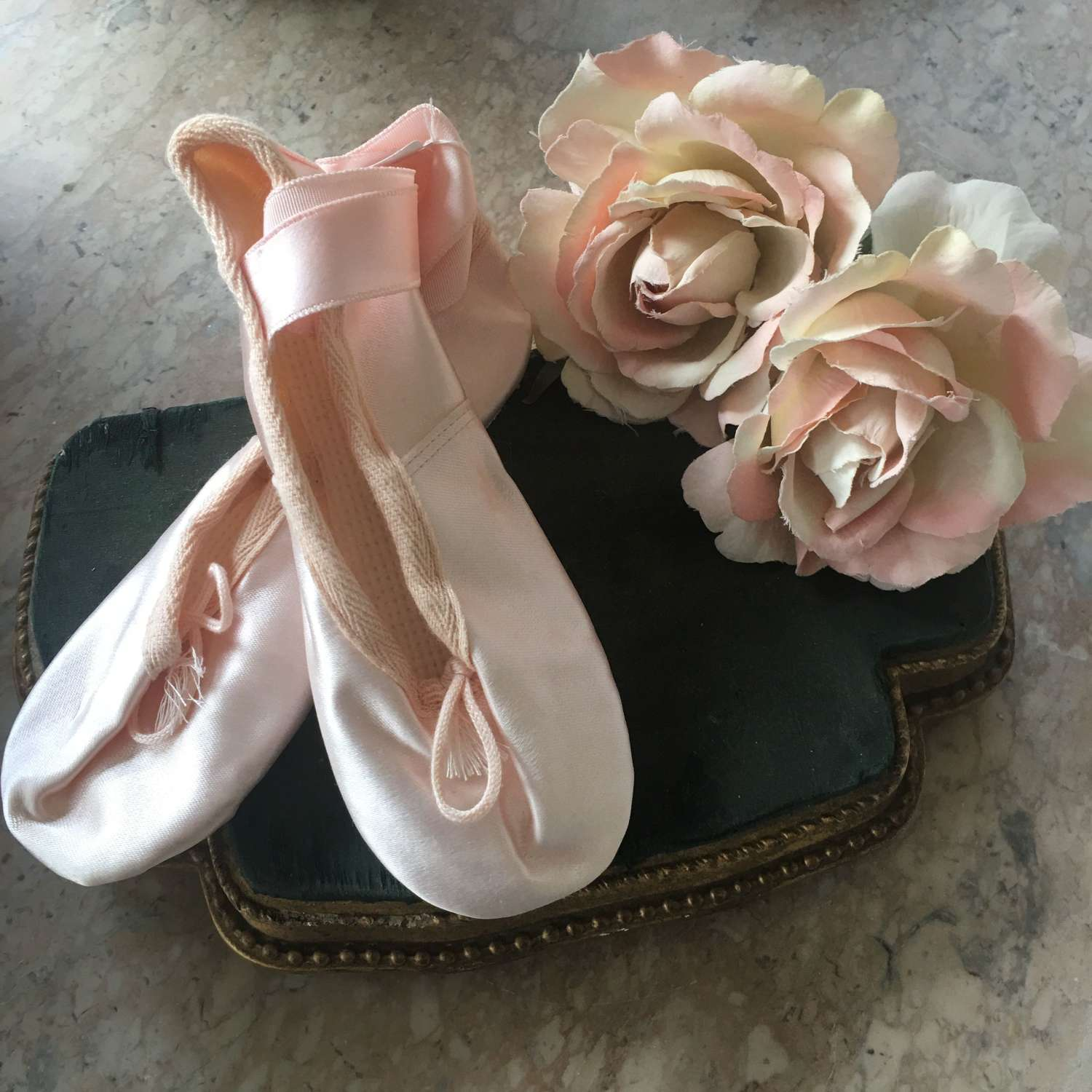 Child's English made size 12 pink satin ballet shoes as new