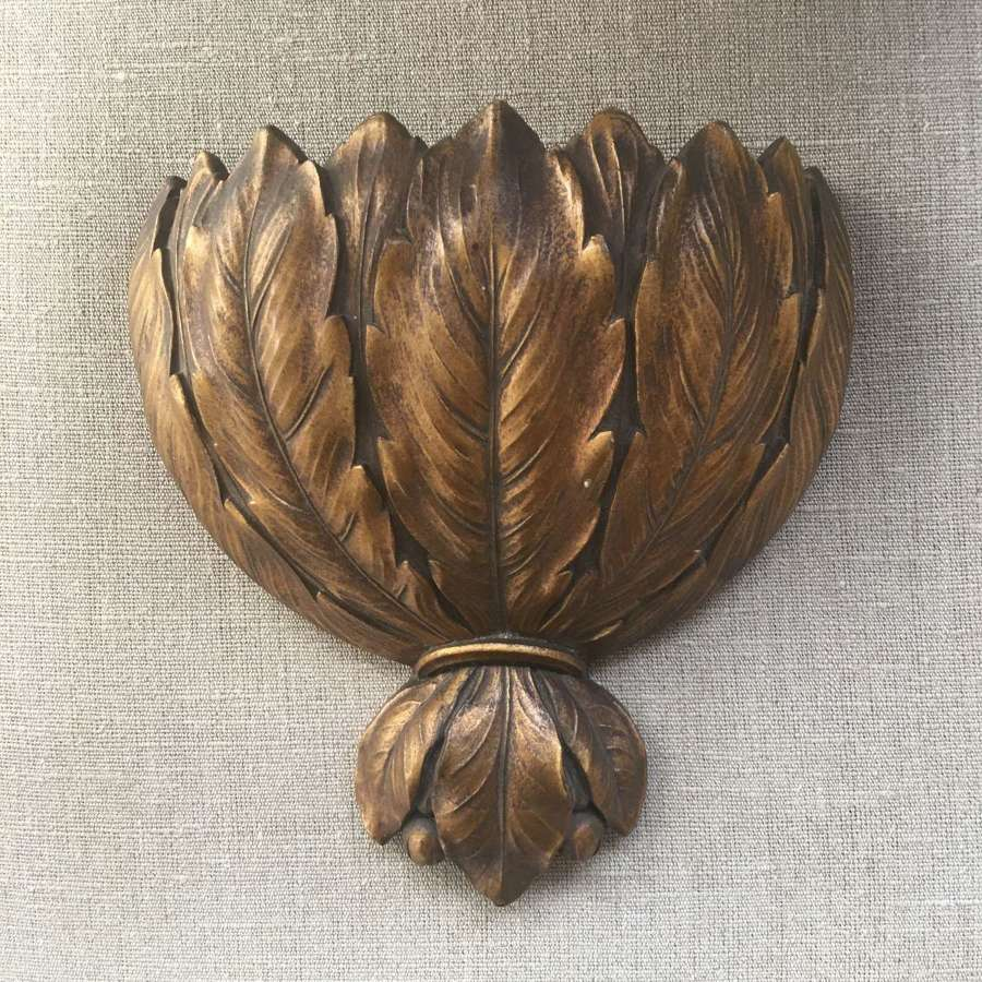A large vintage laurel leaf design wall pocket c.1930