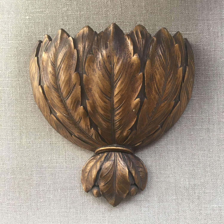 A large vintage laurel leaf design wall pocket c.1930