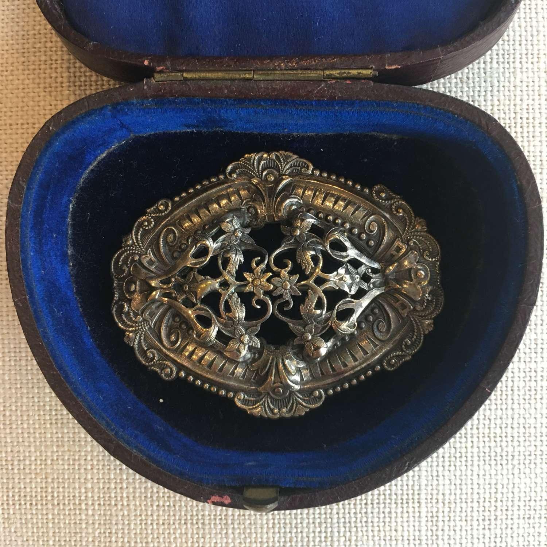 Large metal antique decorative brooch