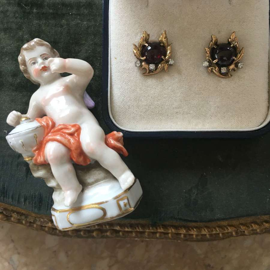 Antique high carat gold wreath earrings with garnet and diamonds