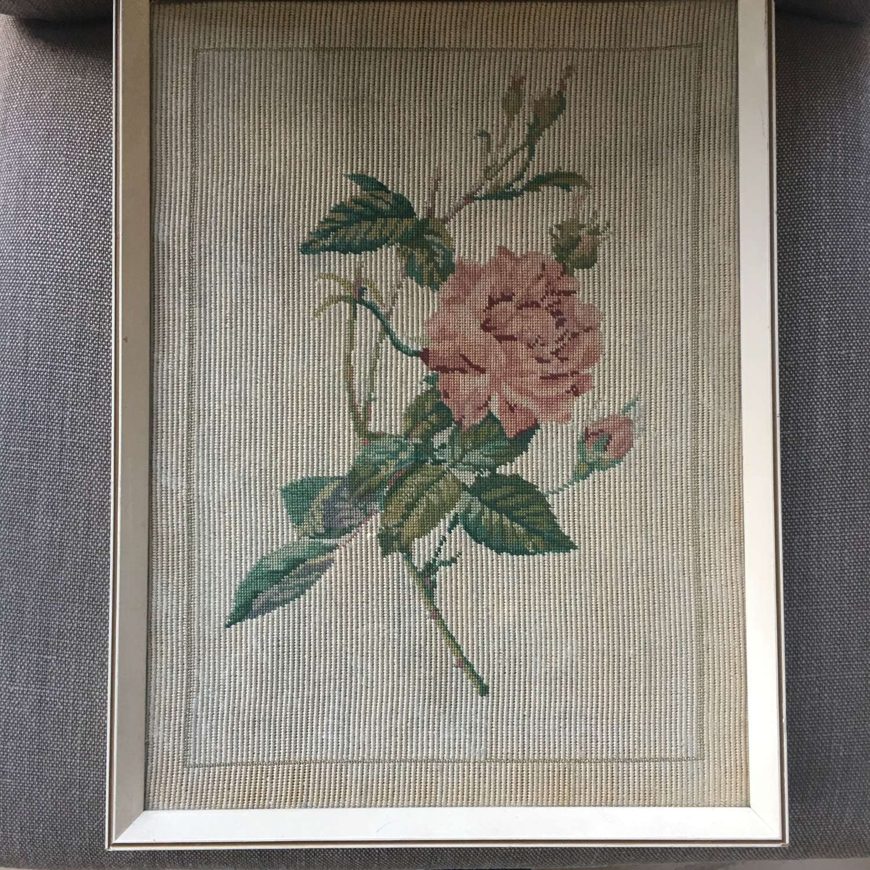 Vintage cream wooden framed rose embroidery