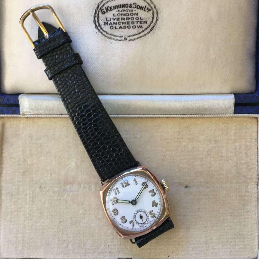 9ct gold Gentlemen's wristwatch on leather strap c 1940
