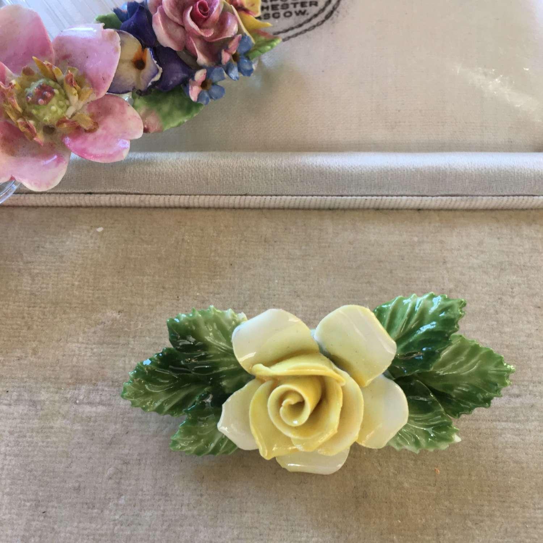 Royal Doulton, England china yellow rose brooch