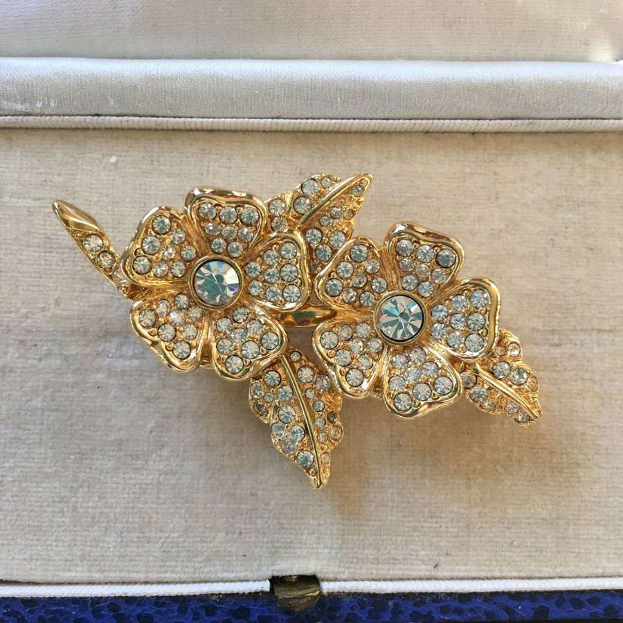 1980's Joan Rivers g/p rhinestone brooch & earrings