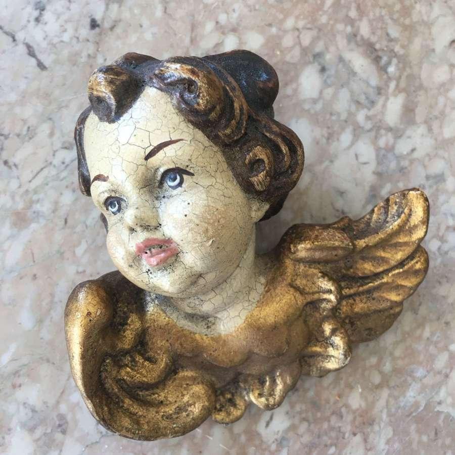 Vintage painted wooden cherub