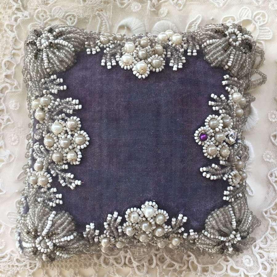 Antique velvet & silk beaded pincushion