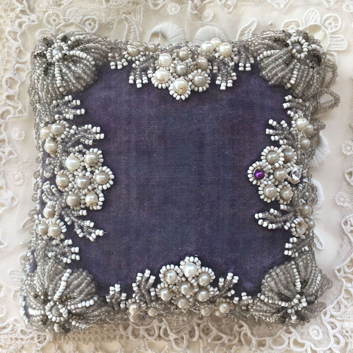 Antique velvet & silk beaded pincushion