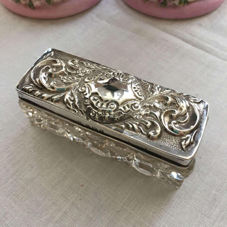 Hallmarked Birmingham 1906 silver lidded cut glass trinket box