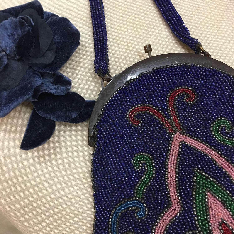Antique blue beaded bag