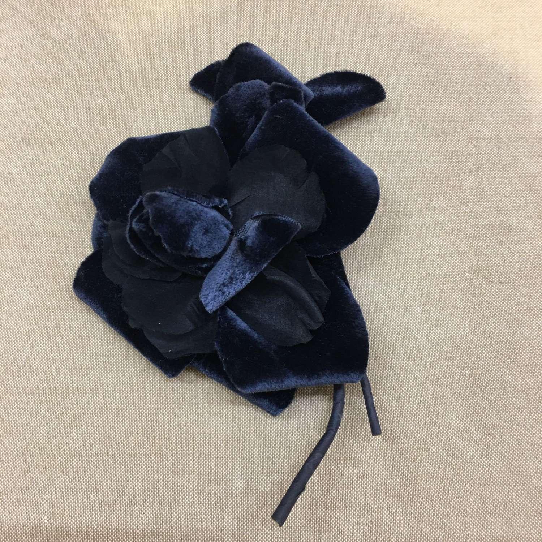 Vintage navy blue velvet and silk millinery flower