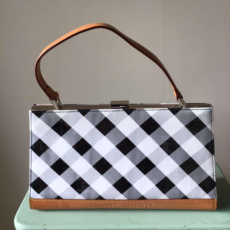 Tommy Hilfiger black and white check handbag
